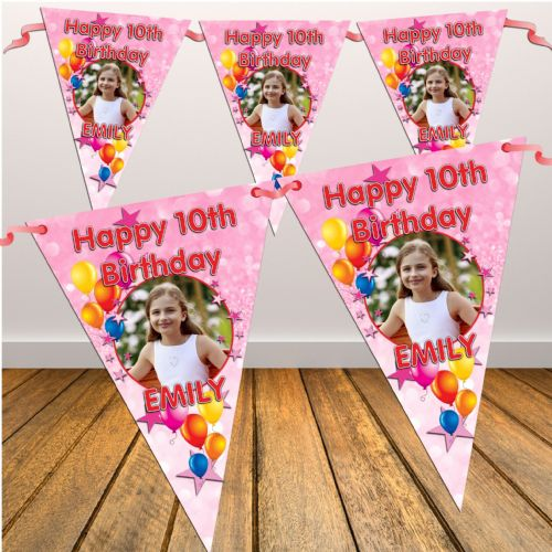 Personalised Pink Sparkle Happy Birthday Flag PHOTO Bunting Banner - N5